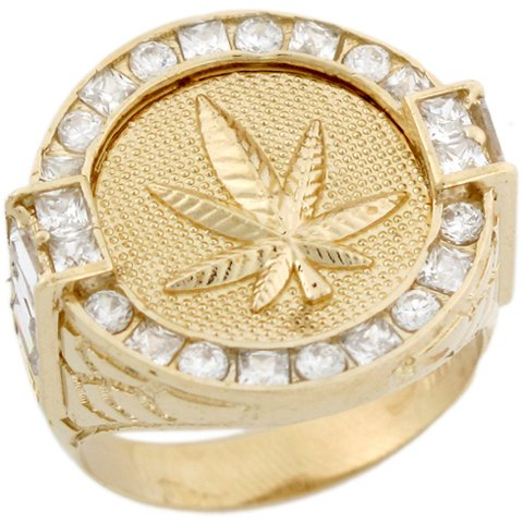 9ct Yellow Gold Cluster White CZ Round Pot Weed Cannabis Mens Ring