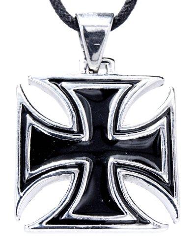 Orecchini ciondolo a forma di croce in acciaio inox con catena 45-65 cm, Acciaio inossidabile, cod. ABC-1015