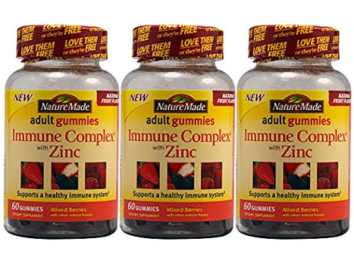 3 Pack of Nature Made Immune Complex with Zinc Adult Gummies Mixed Berries - 60 Gummies (Nature Made Multi Adult Gummies compare prices)
