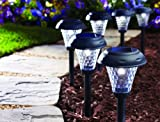Moonrays 91381 Payton Solar LED Plastic Path Light, 2X-Brighter, 8-Pack, Black