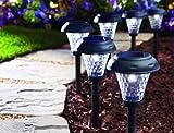Moonrays 91381 Payton Solar LED Plastic Path Light, 2X-Brighter, 8-Pack, Black