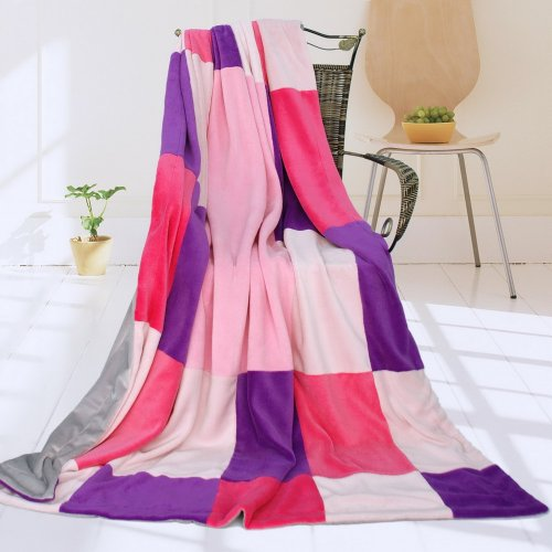 Onitiva - [Lavender Love] Soft Coral Fleece Patchwork Throw Blanket (59 By 78.7 Inches) front-551079