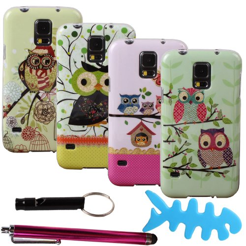 Teenitor(Tm) Bulk Pack Of 4 Cases #S501 Hot Durable Cute Cartoon Bling Owl Design Animal Slim Soft Tpu Gel Skin Case For Samsung Galaxy S5 I9600(With Screen Protector, Stylu, Fish Earphone Cable Organizer, Whistle) Shipping From Usa