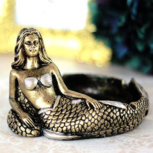 Vintage Fashion Creative Unique Resin Mermaid Ashtray Ornaments Table Ashtray Cigar Ash Tray Home Decoration Décor Crafts Gifts (gold)