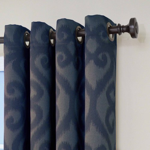Eclipse Patricia Blackout Grommet Curtain Panel 84 Inch Storm Blue Top Blackout Curtains