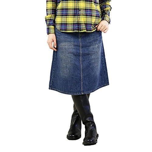 (ベティスミス) Betty Smithコットン膝丈AラインデニムスカートBAB3043・198 S(S) W3(淡色加工)