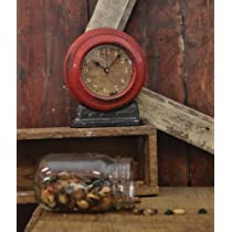 Shabby Chic Clock with Red Case and Distressed Dial