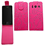 Samrick Bling Diamante Gemstone Floral Flowers Specially Designed Leather Flip Case for Huawei Y300 Ascend - Pink