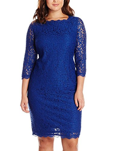 Nemidor Women's 3/4 Sleeves Plus Size Cocktail Party Midi Lace Dress (18W, Prussian Blue)