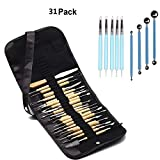 WOWENWO 31 Pieces Carving Tool Set,22 Pieces Wooden Pottery Sculpting Tools,5 Pieces Ceramic Clay Indentation Tool,4 Pieces Double-ended Metal Ball Tools with Roll Up Pouch Case (Color: 31 Pieces)