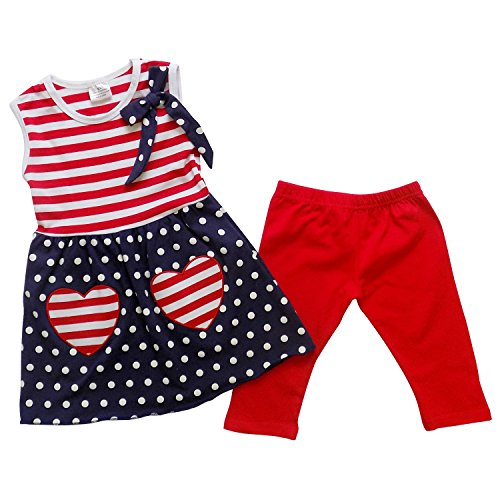 So Sydney Girls Toddler USA Patriotic 4th of July Outfit, Tunic Top & Leggings (L (5T)) ()