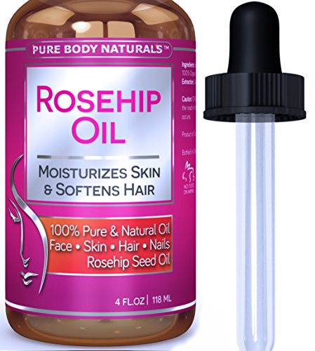 Pure Body Naturals Virgin Rose hip Seed Oil For Face and Skin, 118 ml.