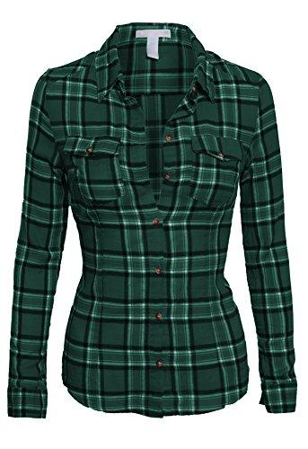 Junior's Classic Collar Button Down Long Sleeve Lightweight Plaid Flannel Shirt