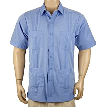 Deluxe fitted Short Sleeve Blue Guayabera by Mycubanstore