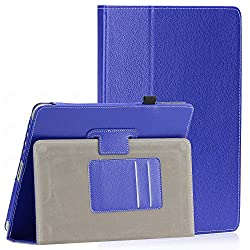 SAVEICON PU Leather Folio Case with Built-in Stand for Apple iPad 1 1st Generation- Navy Blue