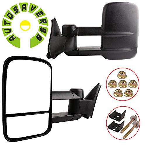 AUTOSAVER88 for 88-98 Chevy/GMC C/K Tahoe Yukon Pickup Manual Telescoping Towing Mirrors Pair Set (98 Chevy 1500 Tow Mirrors compare prices)
