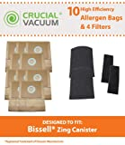 10 Bissell Zing Canister 7100 & 7100L Bags & 4 Filters; Compare to Part # 3210; Designed & Engineered by Crucial Vacuum
