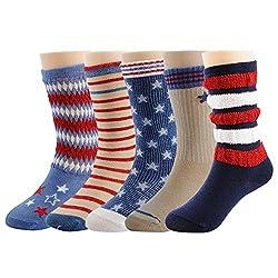 Deer Mum Baby Boy's Star and Stripe Pattern Non-skid Cotton Socks(5 Paris)