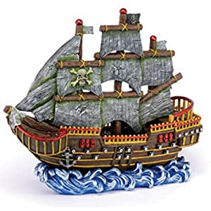 Penn plax large pirate wave runner ship fish for Aquarium decoration ship