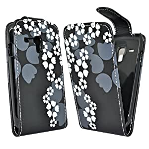 Accessory Master Etui en cuir pour Samsung Galaxy S3 Mini i8190 Blanc Fleur Conception
