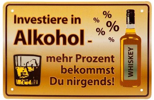 Lustiges Metallschild Alkohol 12x19cm (F1)