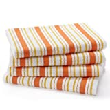 4 Pack Oversized Dish Cloth sets by Cotton Craft - size 15x15 - Pure 100% Cotton - Crisp Basketweave striped pattern with a hanging loop - Highly absorbent soft & sturdy - in 9 cheerful colors Spice Green Red Linen Black Blue Coral Periwinkle & Blue Yellow - Easy care machine wash - Coordinating kitchen towels sold separately