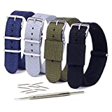 Vetoo 22mm Watch Bands, Classic Nylon Replacement Watch Strap with Stainless Steel Buckle for Men or Women, Pack of 4