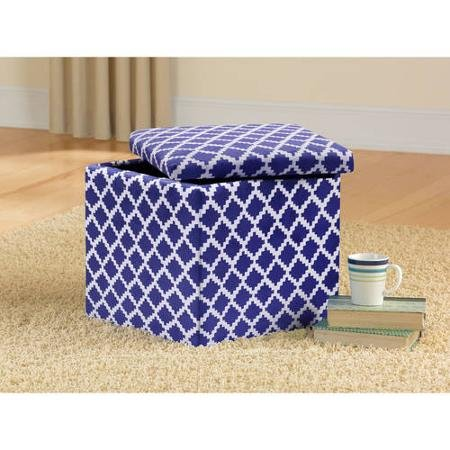 Superb Mainstays Faux Suede Ultra Storage Ottoman Blue And White Unemploymentrelief Wooden Chair Designs For Living Room Unemploymentrelieforg