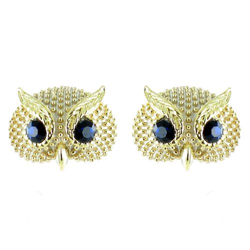 White And Black On Gold Plated Small Owl Earrings front-997006