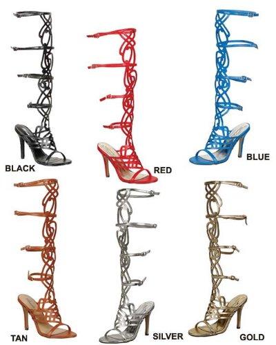 Breckelles Womens Diva-36 Gladiator High Heel Caged Sandals,Tan,7.5 front-411510
