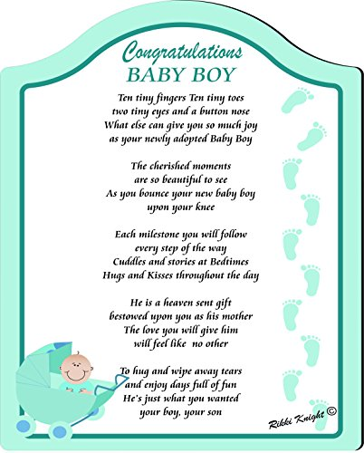 New Baby Boy Adoption Touching 5X7 Poem With Full Color Graphics - Professionally Printed Onto Chromaluxe Arch Panel With Easel Back front-594233