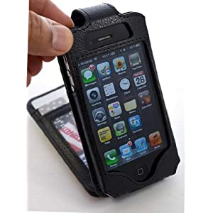 Flip Wallet Card Leather Case for iPhone 4 iPhone4 Black Color - Unique Style - Multifunctional Case - Premium Quality - Inside Surface Is Emerized Scratch Proof to Protect Your Iphone