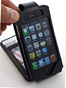 iPhone 4/4S Flip Premium PU Synthetic Leather Wallet Case - Navor (Black)