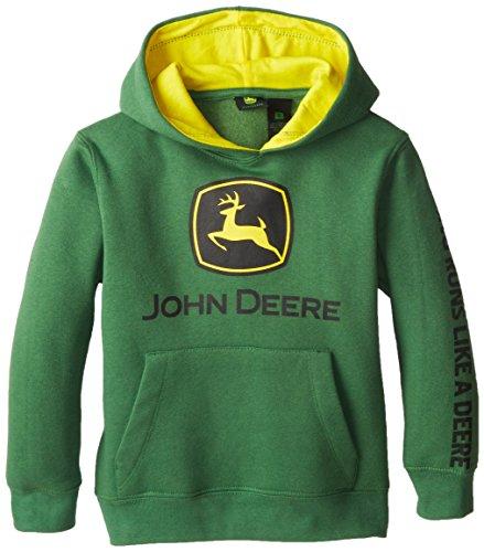John Deere Little Boys' Basic Pullover Fleece Hoodie, Green, 7 front-1024664