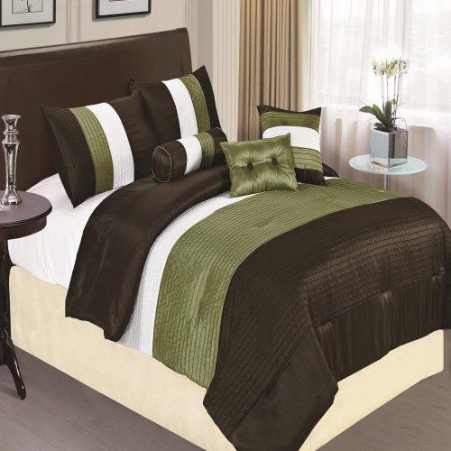 Chic Home Preston 7-Piece Comforter Set, King, Sage front-1002316