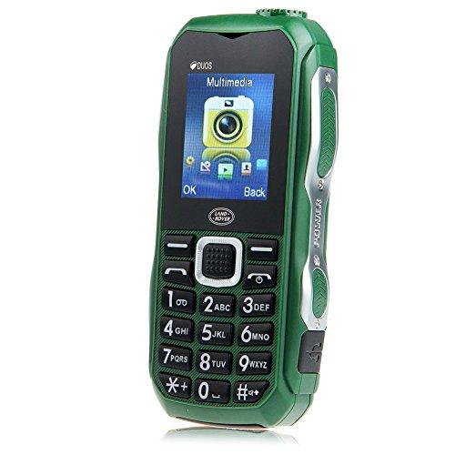 Padgene Outdoor SOS Handy Große Tasten Mobiltelefon Super Lang Standbyzeit Ohne Vertrag Blockhandy für Alter Senior mit Taschenlampe Kamera (DUOS-Grün)