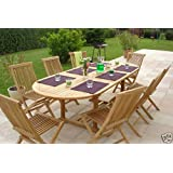 HUMBER TEAK GRADE A TEAK 17 PIECE OUTDOOR DINING SET WITH FOLDING CHAIRS
