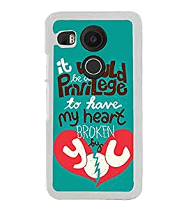 Love Quote 2D Hard Polycarbonate Designer Back Case Cover for LG Nexus 5X :: LG Google Nexus 5X New