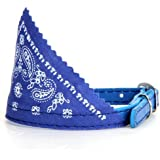 Dog Puppy Pet Bandana Scarf Paisley Pattern with Leather Collar Blue