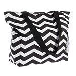 Print Shopper Beach Tote Bag (Black &...