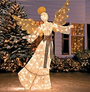 Gorgeous pre lit glittering angel 69 tall for Angel outdoor decoration