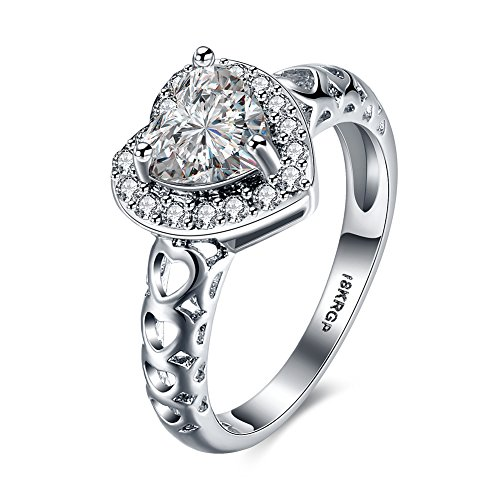 18K White Gold Plated Diamond Solitaire Heart Engagement Ring for Her, Teresa Jewelry (Please Make Me Lesbian compare prices)