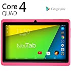 NeuTab® N7 Pro 7'' Quad Core Google Android 4.4 KitKat Tablet PC, 1024X600 Display, Bluetooth, HD Dual Camera, Google Play Pre-loaded, 3D-Game Supported (Pink)