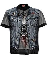 Spiral T-shirt pour homme Motif Trash Metal Noir