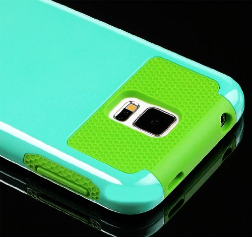 Mylife (Tm) Smooth Sky Blue And Lime Green - Free Flex Series (2 Layer Neo Hybrid) Slim Armor Case For The New Galaxy S5 (5G) Smartphone By Samsung (External Rubberized Hard Shell Flex Piece + Internal Soft Silicone Flexible Bumper Gel)