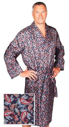 robe de chambre en soie paisley bleu marine rouge homme peignoir v tements. Black Bedroom Furniture Sets. Home Design Ideas