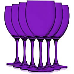 Purple Colored Nuance Wine Glassware - 10 oz. set of 6- Additional Vibrant Colors Available by TableTop King