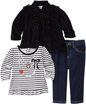 Young Hearts Baby-Girls Infant 3 Piece Mock Necklace Courduroy Jacket Set, Black, 12 Months