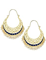 The Jewelbox Filigree Chaand Bali Antique Gold Plated Blue Meena Hoop Earring For Women