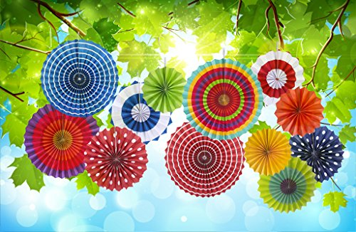 12 Paper Fan Mexican Fiesta/Wedding/Birthday/Carnival/Kids Party Supplies Favors Colors Hanging Decoration (Mexican Fan Decorations compare prices)